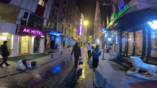 Walking through street Night istanbul