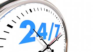 24 Hours 7 Days Week Numbers Clock 3d Animation