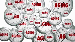 Aging Time Passing Flying Clocks Animated Video