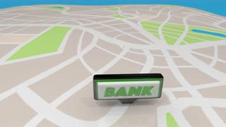 Bank Financial Institution Choices Signs Map 3 D Animation