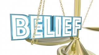 Belief Vs Doubt Balance Scale Faith Confidence 3 D Animation