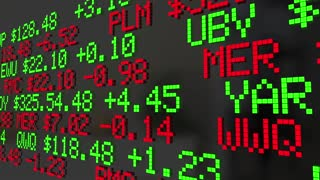 Bull Or Bear Market Stock Ticker Economy Trends 3 D Animation