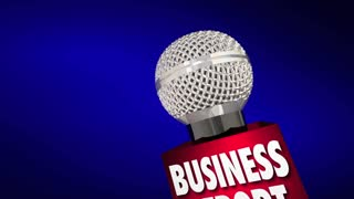 Business News Sales Financial Update Microphone 3d Animation
