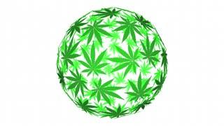 Cannabis Marijuana Leaves Sphere Pot Word 3d Animation