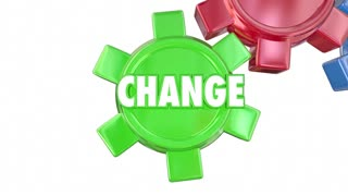 Change Adapt Innovate Improve Evolve Gears Words Animation