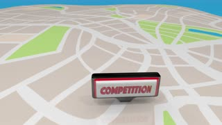Competition Business Competing Customers Signs Map 3 D Animation