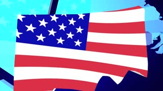 Connecticut CT USA United States America Flag Map 3d Animation