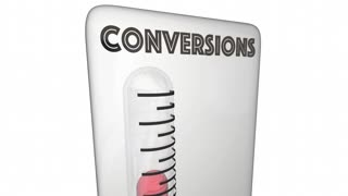 Conversions Sold Customers Closed Deals Thermometer 3 D Animation