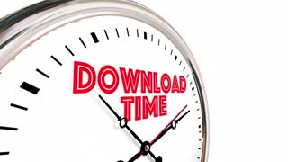 Download Time Internet Speed Get Online Digital Files Clock 3 D Animation