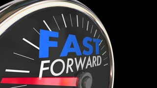 Fast Forward Time Travel Speedometer Words 3d Animation