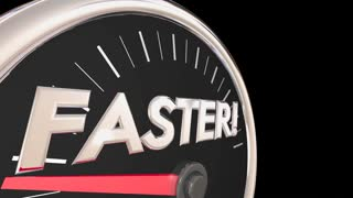 Faster Word Speedometer Quick Action Acceleration 3d Animation