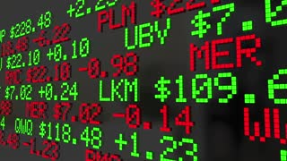Financial Crisis Stock Market Ticker Words 2 3 D Animation