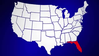 Florida FL Animated State Map USA Zoom Close Up