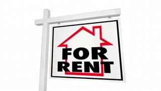 For Rent Great Price Real Estate Home House Sign 3 D Animation