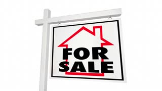 For Sale Price Reduced Home House Real Estate Sign 3 D Animation