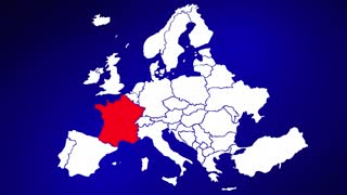 France Europe Country Nation Map Zoom In Close Up Geography