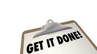 Get It Done Checklist Clipboard Plan Prepare Perform 4K