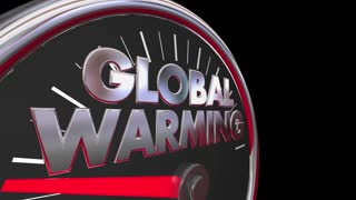Global Warming Temperatures Rising Climate Change Speedometer 3d Animation