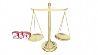 Good Vs Bad Scale Weighing Positive Negative Choices 3 D Animation