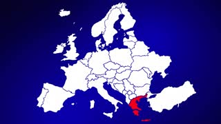 Greece Europe Country Nation Map Zoom In Close Up Geography