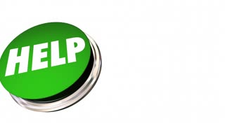 Help Button Get Assistance Support Service Word 3d Animation