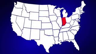 Indiana IN United States of America 3d Animated State Map