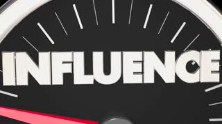 Influence Speedometer Power Persuasion Word 3 D Animation