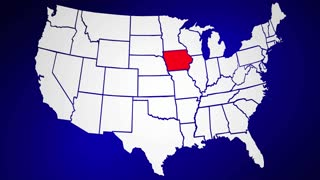 Iowa IA United States of America 3d Animated State Map