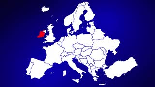 Ireland Europe Country Nation Map Zoom In Close Up Geography
