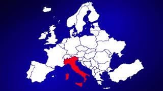 Italy Europe Country Nation Map Zoom In Close Up Geography