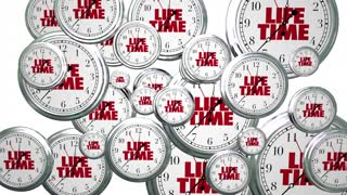 Lifetime Span Live Expectancy Clocks Flying 3d Animation