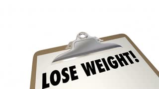Lose Weight Checklist Clipboard Eat Exercise Words 3d Animation