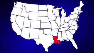 Louisiana LA United States of America 3d Animated State Map