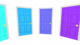 Many Doors Choices Doors Options Different Paths 3d Animation