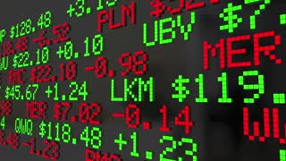 Market Correction Stock Prices Fall Ticker Adjustment 3 D Animation