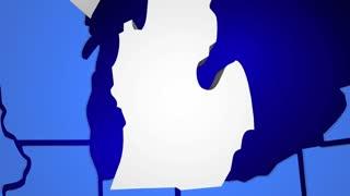 Michigan State Map USA United America 3d Animation