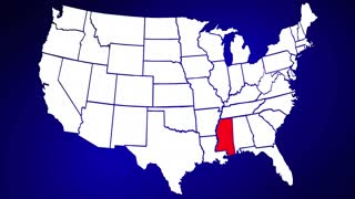Mississippi MS United States of America 3d Animated State Map