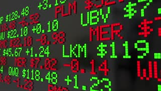 Mutual Funds Stock Tickers Scrolling Investment Options 3 D Animation