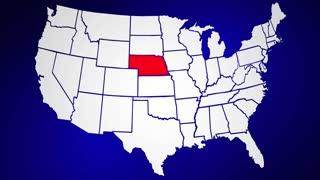 Nebraska NE United States of America 3d Animated State Map