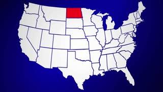 North Dakota ND United States of America 3d Animated State Map