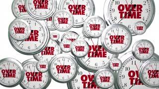 Overtime Extra Added Bonus Work Clocks Flying 3d Animation