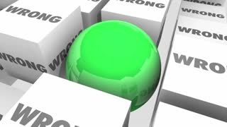 Right Vs Wrong Choice Correct Accuracy Cubes Sphere 3 D Animation