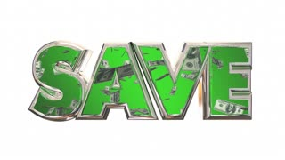 Save Word Money Falling Discount Bargain Deal 3d Animation