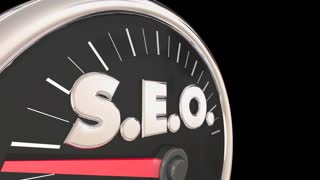 SEO Search Engine Optimization Speedometer Level Rate 3d Animation