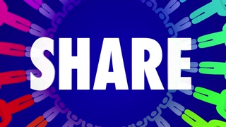 Share Word People Circle Giving Charity Donation Animation 4K