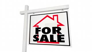 Sold Home For Sale House Real Estate Sign 3 D Animation