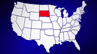 South Dakota SD United States of America 3d Animated State Map