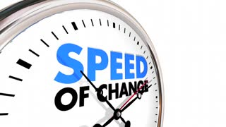 Speed of Change Clock Progress Evolution Time Words 3d Animation