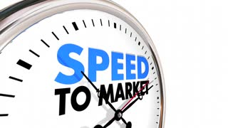 Speed to Market Product Development Clock Time Words 3d Animation