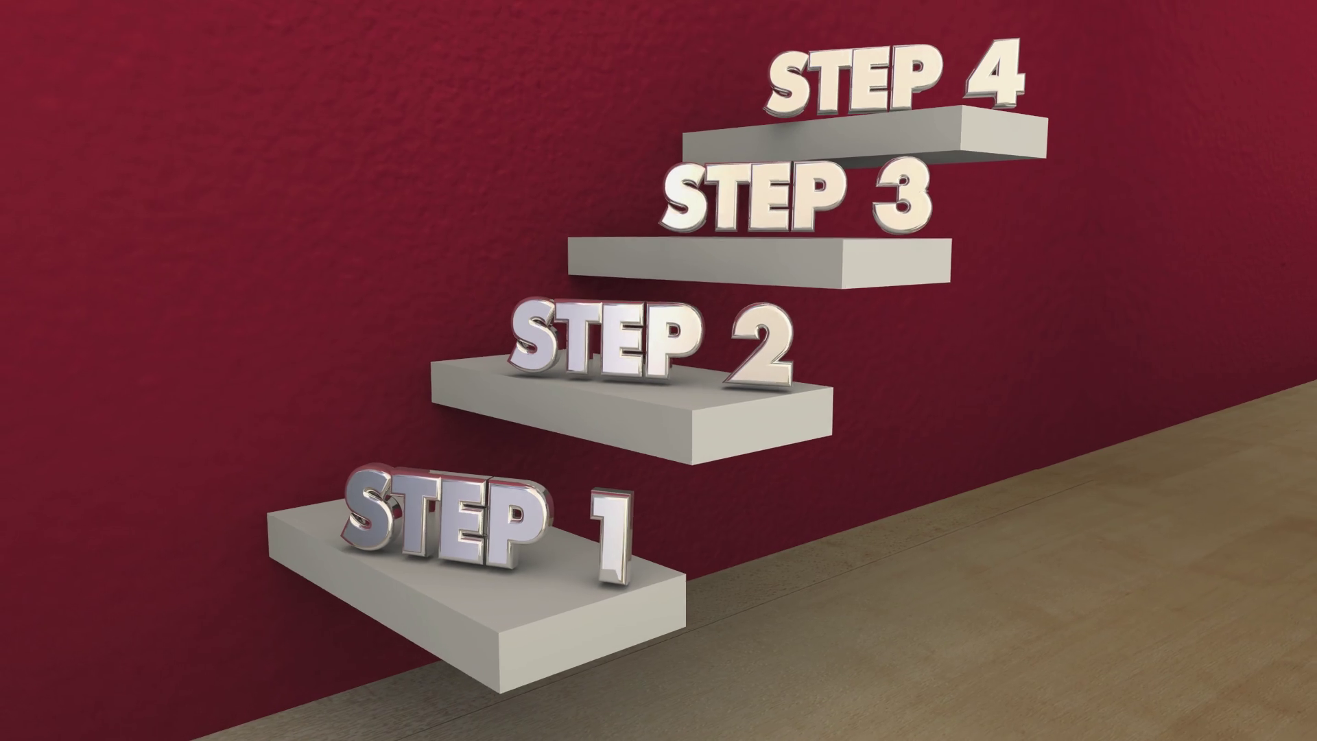 Steps 1 to 4 One Four Process Stairs 3d Animation Motion Background -  Storyblocks